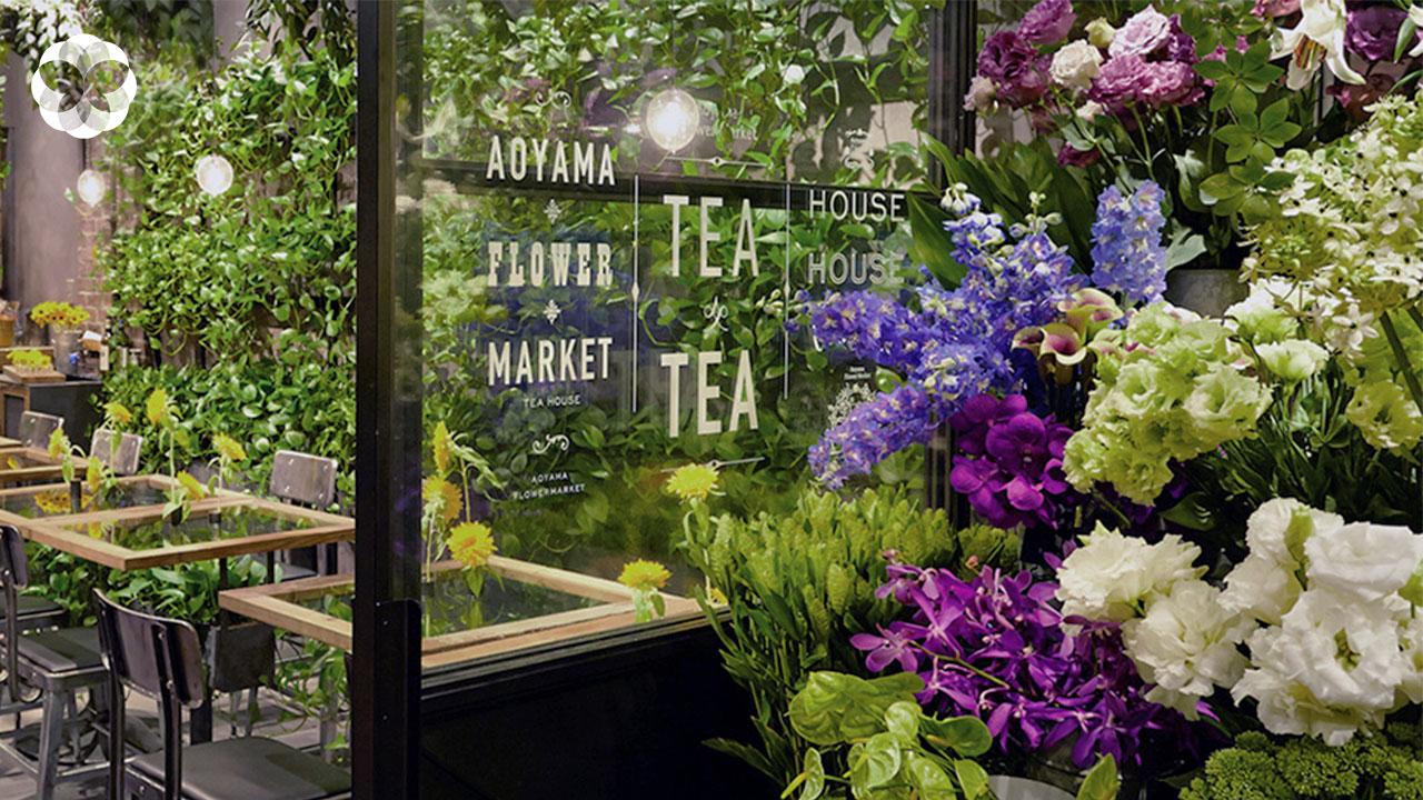 แวะจิบชาร้อนอวลกลิ่นดอกไม้ที่ Aoyama Flower Market Tea House